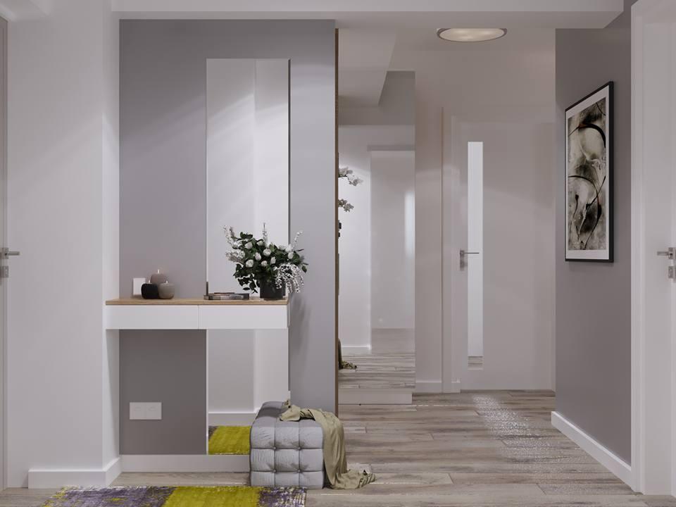 Design interior alb cu gri intr-un apartament mic din Bucuresti